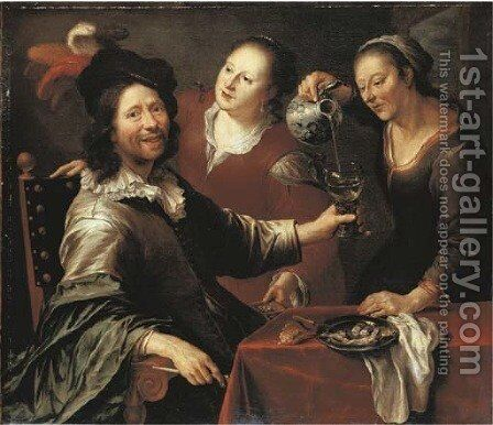 A gentleman seated at a table with two serving girls by Cornelis Stangerus - Reproduction Oil Painting
