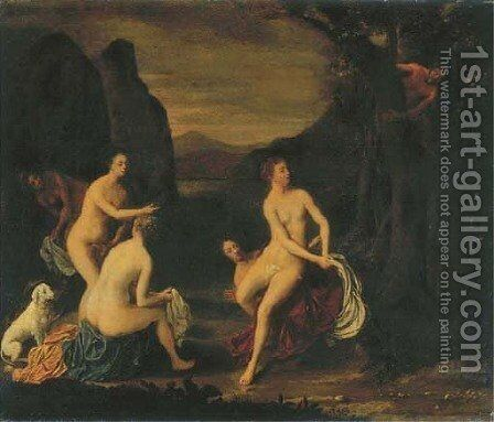 A wooded landscape with Diana and her Nymphs bathing, a satyr spying from a tree by Cornelis Stangerus - Reproduction Oil Painting