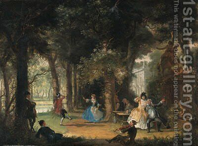 The garden of a mansion with elegant company making music and dancing by Cornelis Troost - Reproduction Oil Painting