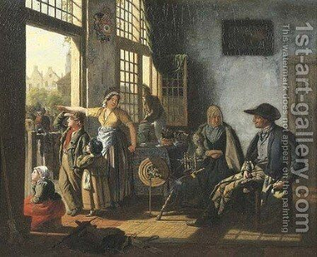 A woman and her children in an interior by an open door by Cornelis Van Cuylenburgh - Reproduction Oil Painting
