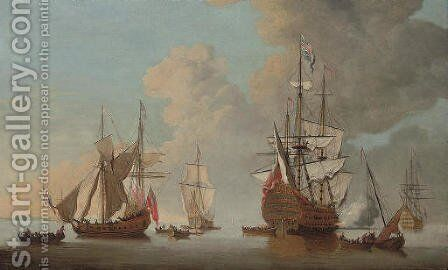 The flagship Royal Sovereign firing a salute at the Nore with other warships and Admiralty yachts in attendance by Cornelis van de Velde - Reproduction Oil Painting
