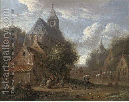A village with boors smoking outside a church by Cornelis van Essen - Reproduction Oil Painting