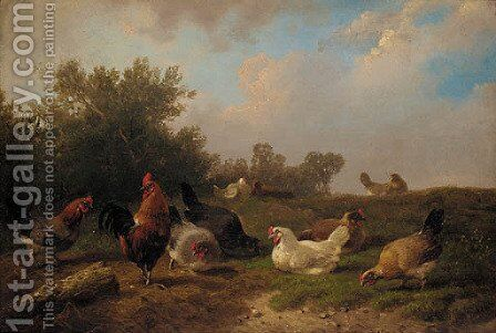 A cockerell and hens feeding by a tree-stump by Cornelis van Leemputten - Reproduction Oil Painting