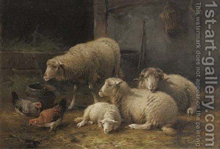 Interieur d'etable avec moutons by Cornelis van Leemputten - Reproduction Oil Painting