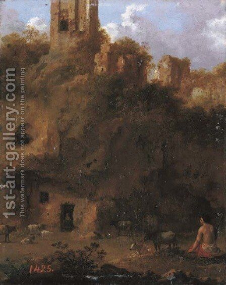 An Italianate landscape with a herdsman and cattle by ruins by Cornelis Van Poelenburch - Reproduction Oil Painting