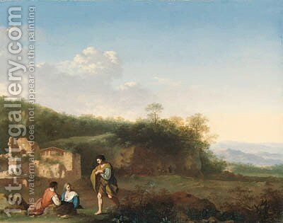 An Italianate landscape with peasants resting in the foreground, a ruined villa beyond by Cornelis Van Poelenburgh - Reproduction Oil Painting