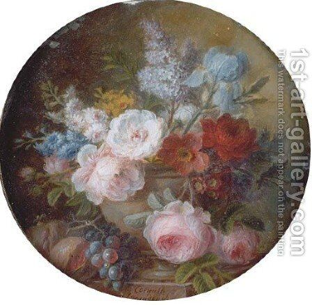 Cabbage rose, white rose, Austrian copper briar, peony, hyacinths, golden narcissus, lilac, pale iris, poppy anemone, auricula and opium poppy by Cornelis van Spaendonck - Reproduction Oil Painting