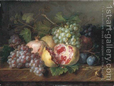 Pomegranates, grapes and plums with a snail and a caterpillar on a marble ledge by Cornelis van Spaendonck - Reproduction Oil Painting