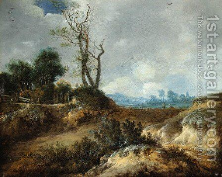 A dune landscape with peasants by a fence by Cornelis van Zwieten - Reproduction Oil Painting