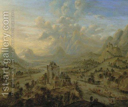 A landscape during the vendage, a castle in the foreground by Cornelis Verdonck - Reproduction Oil Painting