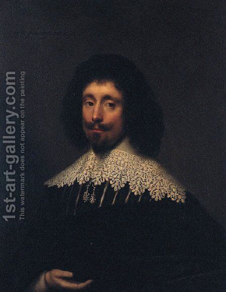 Portrait of a Gentleman, traditionally thought to be James Howell, half-length, in a black and white doublet, white lace collar, and black mantle by Cornelis I Johnson - Reproduction Oil Painting