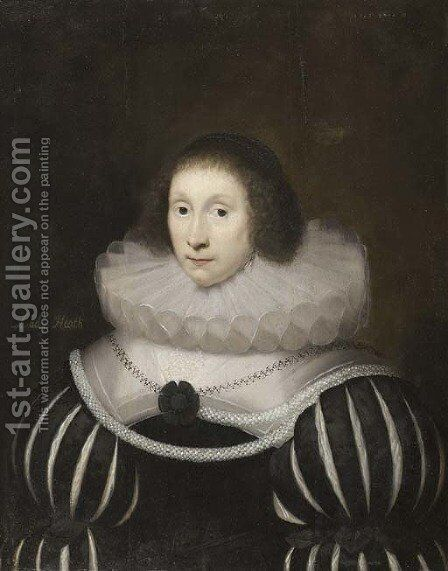 Portrait of Margaret, Lady Heath, wife of Sir Robert Heath, half-length, in a black dress with slashed sleeves and a white ruff, with a rope of pearls by Cornelis I Johnson - Reproduction Oil Painting
