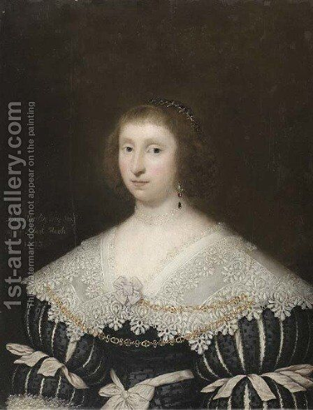 Portrait of Mary, Lady Morley, half-length, in a black dress with slashed sleeves and a lace collar by Cornelis I Johnson - Reproduction Oil Painting