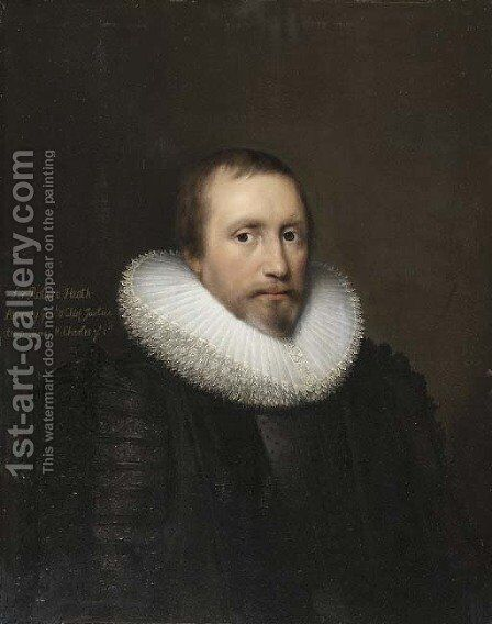 Portrait of Sir Robert Heath (1575-1649), half-length, in a black doublet with a white ruff by Cornelis I Johnson - Reproduction Oil Painting