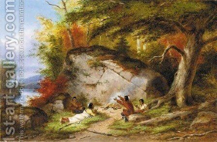 Indian Campfire at Big Rock by Cornelius Krieghoff - Reproduction Oil Painting