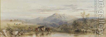 Cattle watering at dusk by Cornelius Pearson - Reproduction Oil Painting