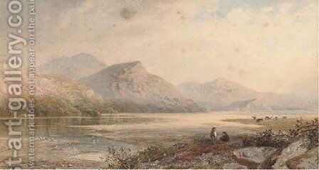 Figures relaxing, near Dolgelley by Cornelius Pearson - Reproduction Oil Painting