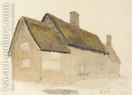 A Norfolk Cottage by Cornelius Varley - Reproduction Oil Painting