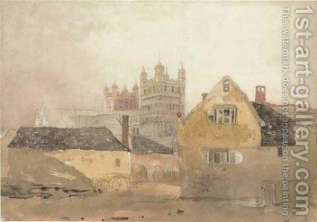 View of Exeter Cathedral by Cornelius Varley - Reproduction Oil Painting