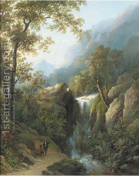 Travellers by a waterfall by Corstiaan Hendrikus De Swart - Reproduction Oil Painting