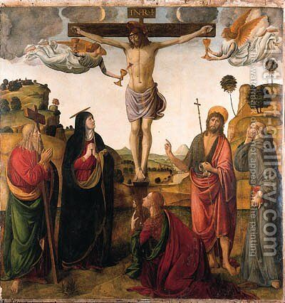 The Crucifixion with the Madonna, Saints John the Baptist, Mary Magdalen, Andrew and Francis by Cosimo Rosselli - Reproduction Oil Painting