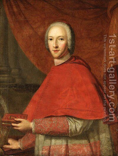 Portrait of Cardinal of York (1725-1807), half-length, in Cardinal's Robes, holding a prayer book in his left hand, his mitre in his right hand by Cosmo Alexander - Reproduction Oil Painting