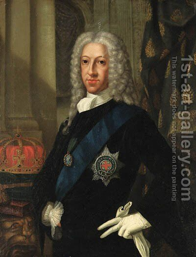 Portrait of the Old Pretender (1688-1766), half-length, in a blue coat and white jabot, wearing the Order of the Garter by Cosmo Alexander - Reproduction Oil Painting