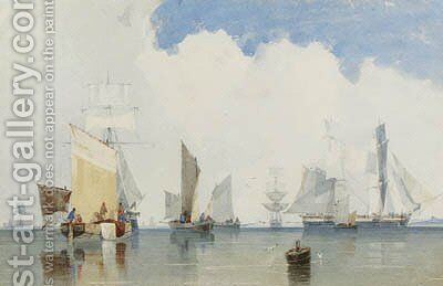 Fishing boats in a harbour by Count Alexandre Thomas Francia - Reproduction Oil Painting