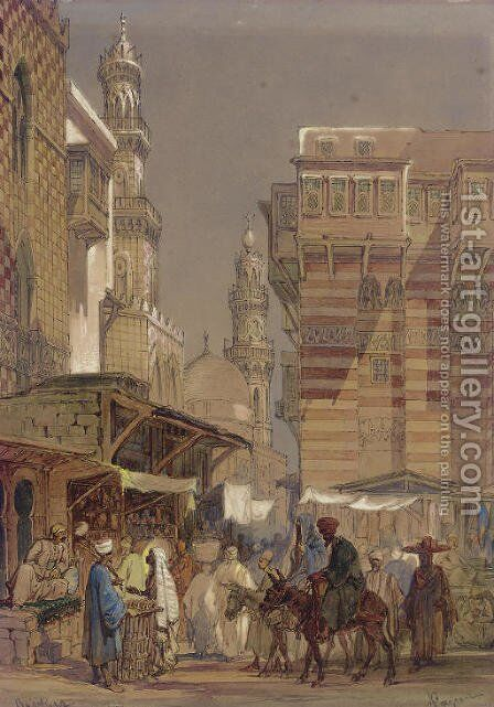 Market Day on the Mu'izz id-Din li-Lah, old Cairo by Amadeo Preziosi - Reproduction Oil Painting