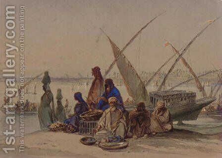On the Banks of the Nile, Cairo by Amadeo Preziosi - Reproduction Oil Painting