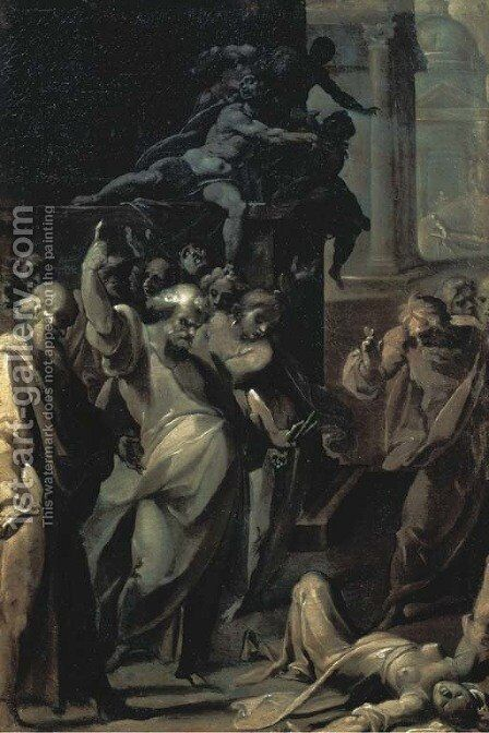 The Death of Ananias and Saphira by Cristoforo Pomarancio (Roncalli) - Reproduction Oil Painting