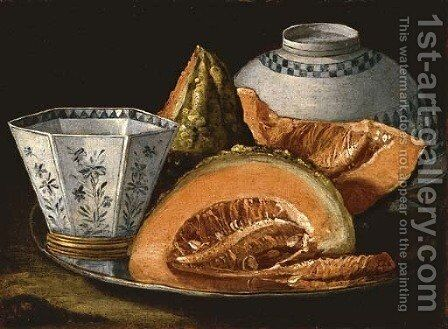 Melon and an octagonal cup on a silver charger, an upturned bowl behind by Cristoforo Munari - Reproduction Oil Painting