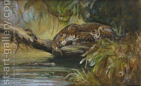 Jaguar observing a Caiman by Cuthbert Edmund Swan - Reproduction Oil Painting