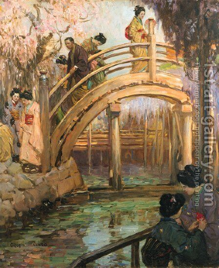 The Japanese Bridge by Cyrus Cuneo - Reproduction Oil Painting
