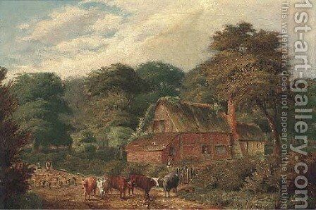 Cattle and sheep before a cottage by David Payne - Reproduction Oil Painting