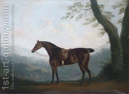 A bay hunter in an extensive landscape by Daniel Clowes - Reproduction Oil Painting