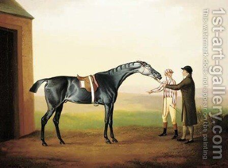 Racehorse with jockey and groom by Daniel Clowes - Reproduction Oil Painting