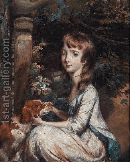 Portrait of a young girl, seated beneath a tree, in a white dress with blue trim, a red and white setter beside her by Daniel Gardner - Reproduction Oil Painting