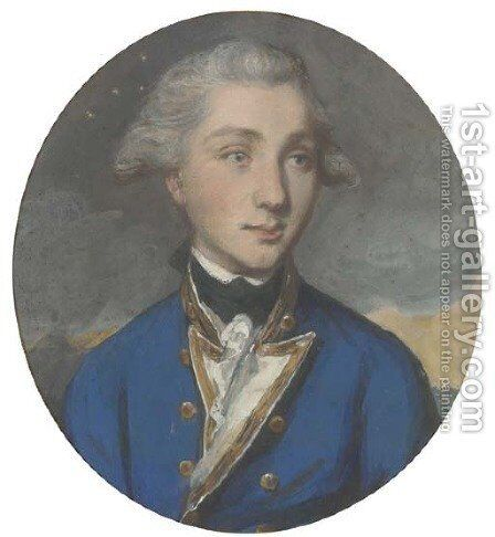 Portrait of Admiral Sir William Sidney Smith, K.C.B., half-length, in naval uniform by Daniel Gardner - Reproduction Oil Painting