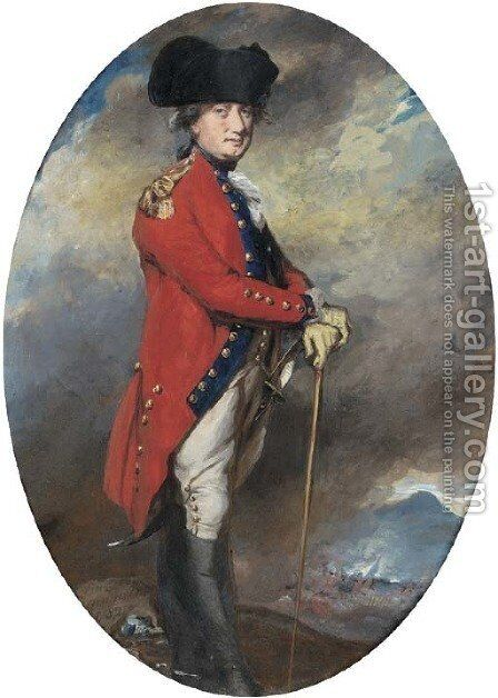 Portrait of Charles, 1st Marquis Cornwallis (1738-1805), small full-length, in uniform, leaning on a cane, in a landscape with a battle beyond by Daniel Gardner - Reproduction Oil Painting