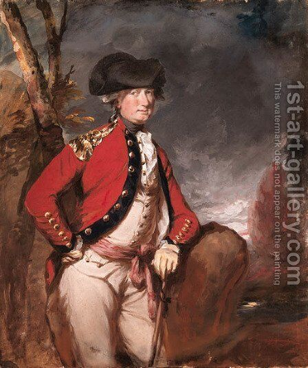 Portrait of Charles, 1st Marquis Cornwallis (1738-1805), three-quarter-length, in uniform, holding a cane in his left hand, in a landscape by Daniel Gardner - Reproduction Oil Painting