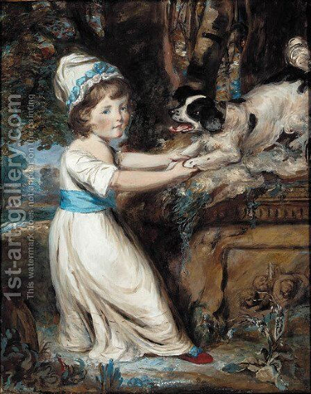 Portrait of Miss Hall, full-length in a white dress with blue trim, playing with a black and white spaniel by Daniel Gardner - Reproduction Oil Painting