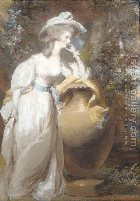 Portrait of Philadelphia de Lancy, in a white dress and sash, leaning on an urn, in a wooded landscape by Daniel Gardner - Reproduction Oil Painting