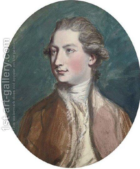 Portrait of a gentleman, bust-length, in a red coat by Daniel Gardner - Reproduction Oil Painting