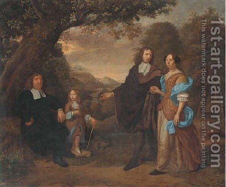 A group portrait of a family in a wooded landscape by Daniel Haringh - Reproduction Oil Painting