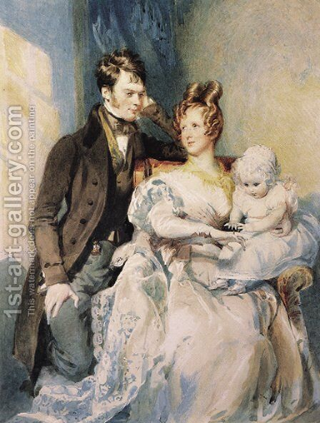 Portrait of Mr and Mrs MacGregor with their child by Daniel Maclise - Reproduction Oil Painting