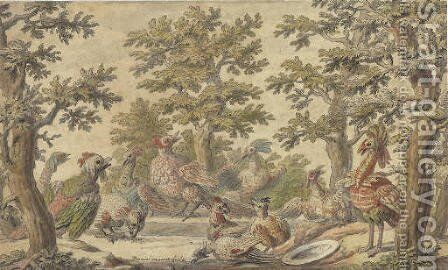 Fantastic birds frolicking in a wooded landscape by Daniel the Elder Marot - Reproduction Oil Painting