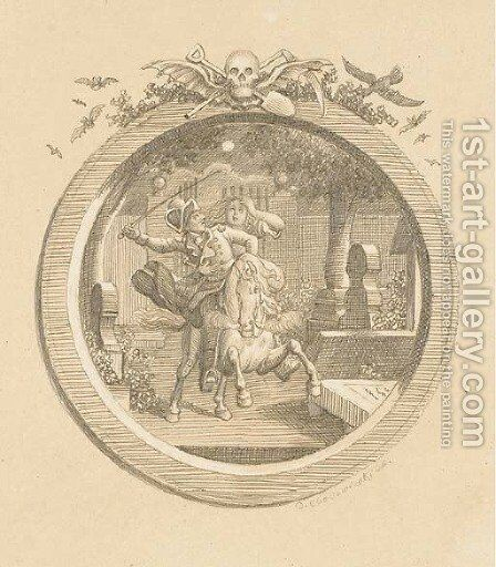 Wilhelm and Leonore galloping through a graveyard, an illustration to Butrger's Leonore, in a trompe l'oeil frame surmounted by macabre symbols by Daniel Nikolaus Chodowiecki - Reproduction Oil Painting