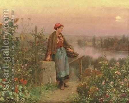 A Thoughtful Moment by Daniel Ridgway Knight - Reproduction Oil Painting