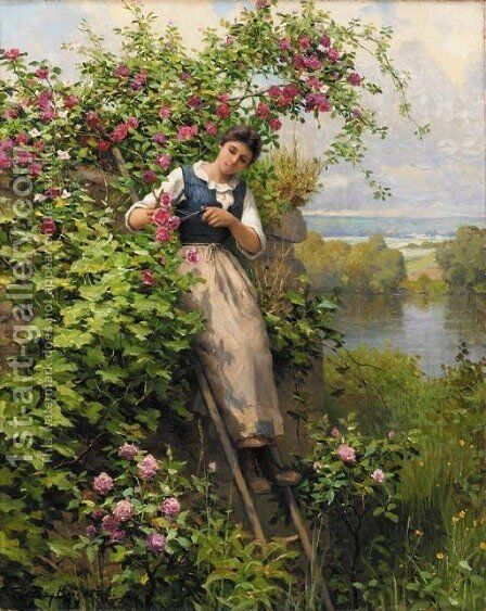 Cutting the Roses by Daniel Ridgway Knight - Reproduction Oil Painting